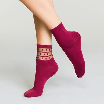 Pack de 2 pares de calcetines bajos de microfibra para mujer burdeos, , DIM