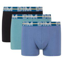 Pack de 3 bóxers azul, verde azulado y negro de algodón elástico Dim Powerful, , DIM