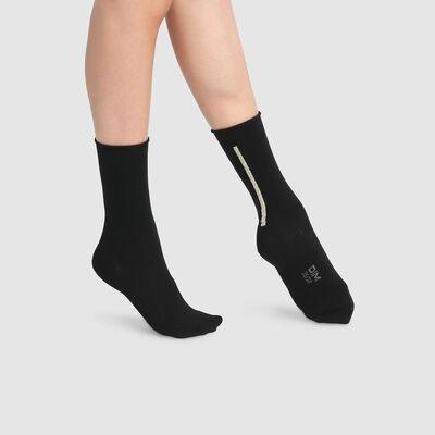 Pack de 2 pares de calcetines de media caña modal lurex oro negro Dim Modal, , DIM