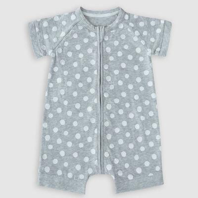 Pelele para bebé con cremallera de algodón elástico gris estampado lunares blancos Dim Baby, , DIM