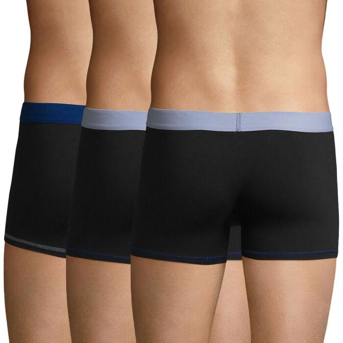 Pack de 3 bóxers negros y azules de algodón elástico Mix and Colors, , DIM