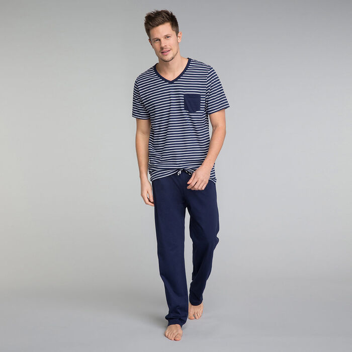 Camiseta de pijama estampado marinero con bolsillo - Fashion Navy, , DIM