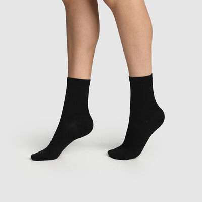 Pack of  2 pairs of women's socks Black Mercerised Cotton, , DIM
