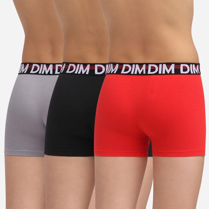 Pack de 3 bóxers rojo, gris y negro niño de algodón elástico Promo Eco Dim, , DIM