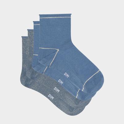 Pack de 2 pares de calcetines bajos para mujer de lurex dorado azul Coton Style, , DIM