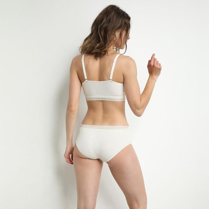 Sujetador de mujer en algodón acanalado y ribete de encaje nácar Coton Lace, , DIM