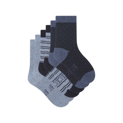 Pack de 3 pares de calcetines de lunares y líneas Denim Kids Coton Style, , DIM