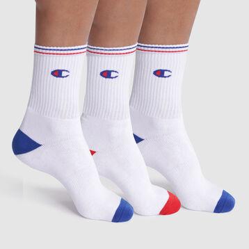 Pack de 3 pares de calcetines blancos con logo bordado - Champion Performance, , DIM