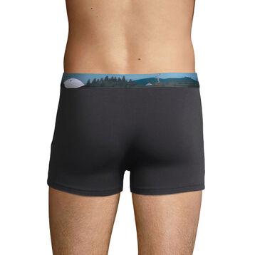 Bóxer gris de algodón elástico con la cintura estampada , , DIM
