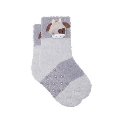 Calcetines para niños antideslizantes cabeza de vaca 3D gris Kids Cocoon, , DIM