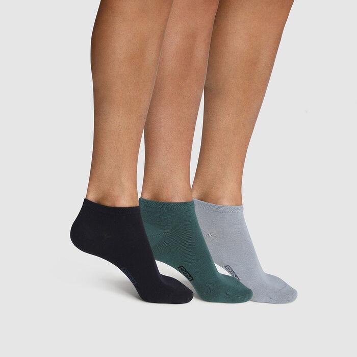 Pack de 3 pares de calcetines bajos para hombre de algodón azul, verde Basic Coton, , DIM