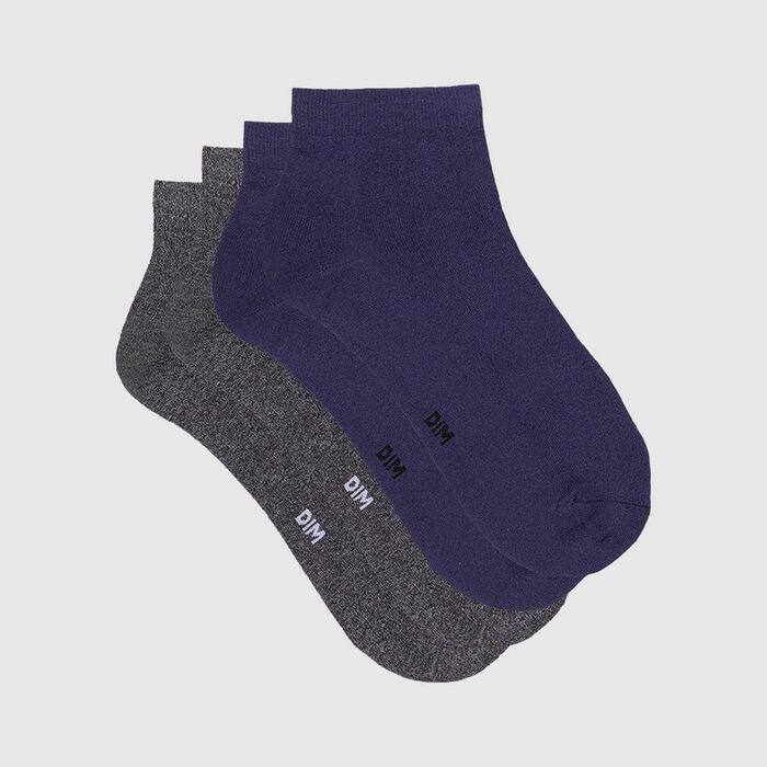 Pack de 2 calcetines para mujer de microfibra azul y gris jaspeado Dim Skin, , DIM