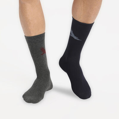 Juego de 2 pares de calcetines de hombre con motivo de águila Azul Coton Style, , DIM