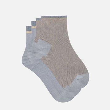 Pack de 2 pares de calcetines fantasía de lurex dorado Coton Style, , DIM