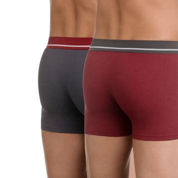 Lot de 2 boxers rouge et gris en coton stretch Soft Touch-DIM
