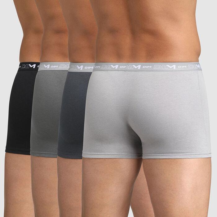 Pack de 4 boxers gris y negro Coton stretch, , DIM