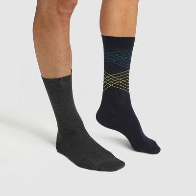 Pack de 2 pares de calcetines para hombre estampado de líneas azul Coton Style, , DIM