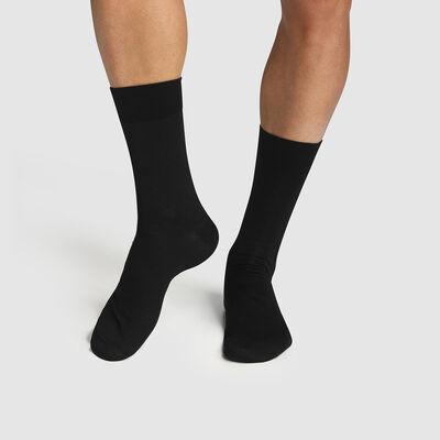 Pack de 2 pares de calcetines para hombre de algodón negro con hilo de Escocia, , DIM