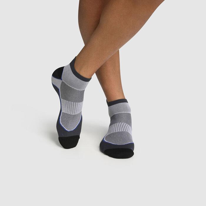 Calcetines para hombre en poliamida impacto fuerte gris y blanco Dim Sport, , DIM