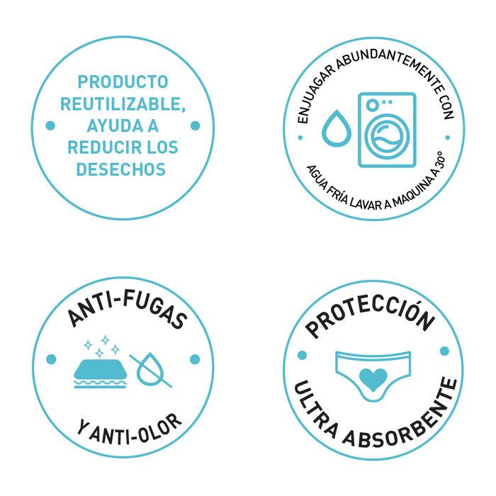 Braguita menstrual lavable de algodón bio* negro-flujo abundante Dim Protect, , DIM