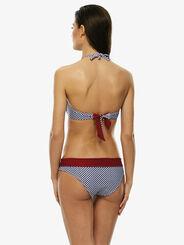 Braguita bikini reversible con estampado vichy azul y roja, , LOVABLE
