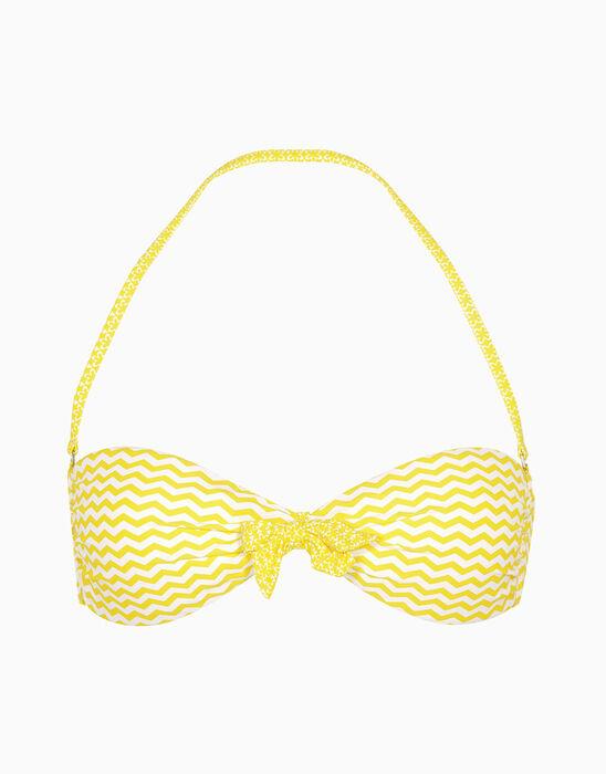 Sujetador bikini bandeau blanco y amarillo estampado de microfibra, , LOVABLE