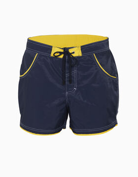 Bañador corto azul marino con bordes amarillos, , LOVABLE