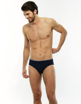 Bañador slip azul marino con cintura estampada de secado rápido, , LOVABLE