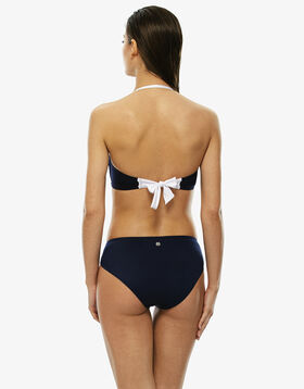 Sujetador bikini bandeau con aros y relleno azul y blanco, , LOVABLE
