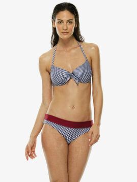 Sujetador bikini reversible con aros estampado vichy azul y rojo, , LOVABLE
