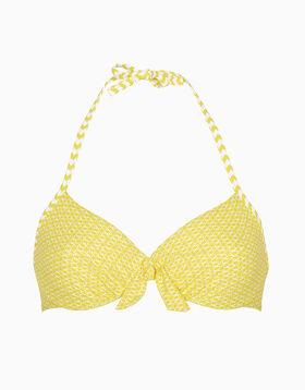 Sujetador bikini con aros amarillo y blanco estampado de microfibra, , LOVABLE